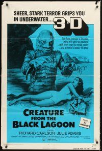 4c026 CREATURE FROM THE BLACK LAGOON 1sh R72 great artwork of monster attacking sexy girl!