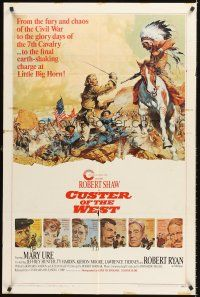 4c027 CUSTER OF THE WEST style A 1sh '68 art of Shaw vs Indians at the Battle of Little Big Horn!