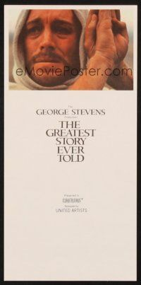 4c080 GREATEST STORY EVER TOLD herald '65 George Stevens, Max von Sydow as Jesus in Cinerama!