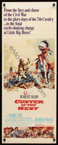 4c036 CUSTER OF THE WEST insert '68 art of Robert Shaw vs Indians at the Battle of Little Big Horn