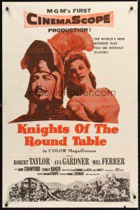 4c032 KNIGHTS OF THE ROUND TABLE 1sh R60s Robert Taylor as Lancelot, sexy Ava Gardner as Guinevere!