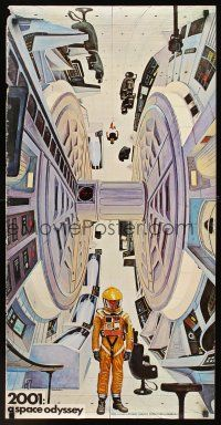 4c015 2001: A SPACE ODYSSEY 20x40 commercial poster '68 cool art of astronauts by Bob McCall!