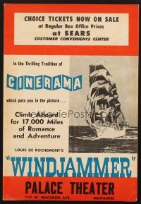4c011 WINDJAMMER 10x15 special poster '58 sailing documentary by Louis De Rochemont in Cinerama!