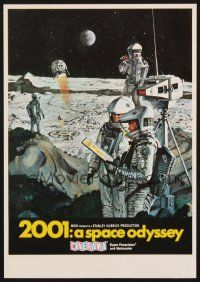 4c019 2001: A SPACE ODYSSEY mini WC '68 Kubrick, art of astronauts on moon by McCall, Cinerama!