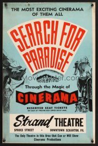 4c003 SEARCH FOR PARADISE WC '57 Cinerama, Lowell Thomas' Himalayan travels in Nepal!