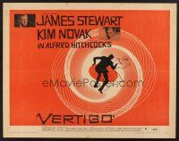 4d445 VERTIGO 1/2sh '58 Hitchcock's best, James Stewart & Kim Novak, Saul Bass' wonderful art!