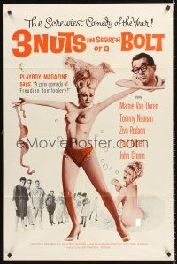 4g008 3 NUTS IN SEARCH OF A BOLT 1sh '64 sexy Mamie Van Doren in tassles & little else!