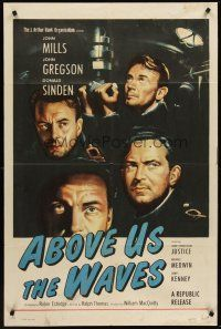 4g019 ABOVE US THE WAVES 1sh '56 art of John Mills & English WWII sailors at periscope in sub!