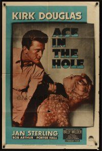 4g022 ACE IN THE HOLE 1sh '51 Billy Wilder classic, close up of Kirk Douglas choking Jan Sterling!