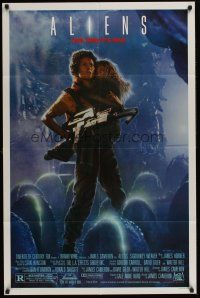 4g038 ALIENS Ripley style 1sh '86 James Cameron, cool image of Sigourney Weaver & Carrie Henn!