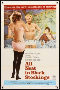 4g039 ALL NEAT IN BLACK STOCKINGS 1sh '69 Susan George, discover the new excitement of sharing!