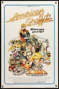 4g040 AMERICAN GRAFFITI 1sh '73 George Lucas teen classic, it was the time of your life!
