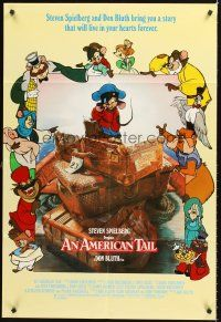 4g042 AMERICAN TAIL int'l 1sh '86 Steven Spielberg, Don Bluth, art of Fievel the mouse!