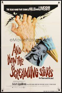 4g044 AND NOW THE SCREAMING STARTS 1sh '73 sexy terrified girl & art of severed hand!