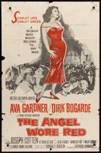 4g049 ANGEL WORE RED 1sh '60 sexy full-length Ava Gardner, Dirk Bogarde has a price on his head!