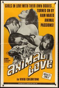 4g051 ANIMAL LOVE 1sh '69 girls in love with their own bodies, naked animal passions, Kenny!