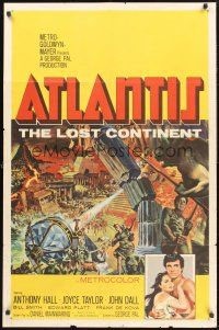 4g057 ATLANTIS THE LOST CONTINENT 1sh '61 George Pal underwater sci-fi, cool fantasy art by Smith!