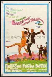 4g072 BAREFOOT IN THE PARK 1sh '67 artwork of frollicking Robert Redford & sexy Jane Fonda!