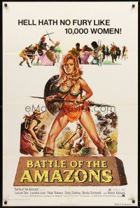 4g077 BATTLE OF THE AMAZONS 1sh '73 art of sexy barely-dressed female warrior Lucretia Love!