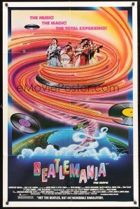 4g080 BEATLEMANIA 1sh '81 great psychedelic artwork of The Beatles impersonators by Kim Passey!