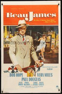 4g081 BEAU JAMES 1sh '57 great image of Bob Hope as New York City Mayor Jimmy Walker!