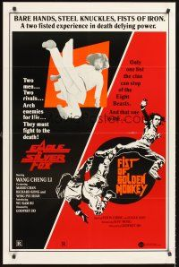 4g246 EAGLE VS. SILVER FOX/FIST OF GOLDEN MONKEY 1sh '83 martial arts action double bill!
