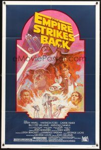 4g258 EMPIRE STRIKES BACK 1sh R82 George Lucas sci-fi classic, cool artwork by Tom Jung!