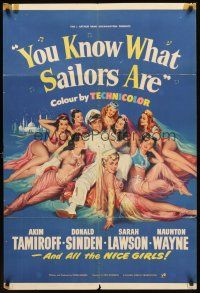 4g992 YOU KNOW WHAT SAILORS ARE English 1sh '54 sexy English harem girls, Akim Tamiroff!