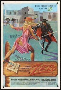 4g264 EROTIC ADVENTURES OF ZORRO 1sh '72 art of sexy rated Z masked hero!
