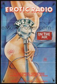4g265 EROTIC RADIO WSEX 1sh '84 wild sexy image of nude woman at microphone!