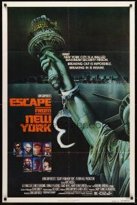 4g266 ESCAPE FROM NEW YORK advance 1sh '81 John Carpenter, Lady Liberty in handcuffs by S. Watts!