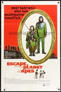 4g267 ESCAPE FROM THE PLANET OF THE APES 1sh '71 meet Baby Milo who has Washington terrified!