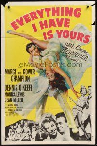 4g271 EVERYTHING I HAVE IS YOURS 1sh '52 full-length art of Marge & Gower Champion dancing!