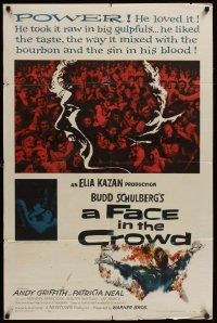 4g282 FACE IN THE CROWD 1sh '57 Andy Griffith took it raw like his bourbon & his sin, Elia Kazan