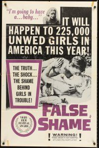 4g284 FALSE SHAME 1sh '58 the shocking shameless story of nice girls who become girls in trouble!