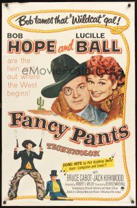 4g287 FANCY PANTS 1sh R62 Lucille Ball & wacky cowboy Bob Hope are driving the west wild!