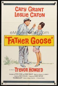4g294 FATHER GOOSE 1sh '65 art of sea captain Cary Grant yelling at pretty Leslie Caron!