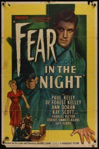 4g296 FEAR IN THE NIGHT 1sh '47 cool film noir artwork of Paul Kelly with pistol!