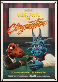 4g301 FESTIVAL OF CLAYMATION video 1sh '87 Will Vinton, great image of dinosaurs in theater!