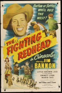 4g303 FIGHTING REDHEAD 1sh '49 Jim Bannon as Red Ryder, outlaw or settler, who will rule the west?