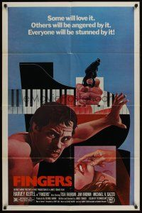 4g305 FINGERS 1sh '78 cool art of mobster Harvey Keitel, sexy Tisa Farrow by Wilson McLean!