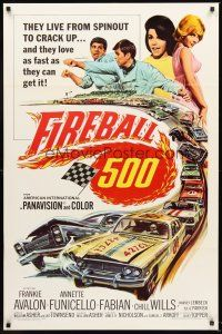 4g307 FIREBALL 500 1sh '66 race car driver Frankie Avalon & sexy Annette Funicello!