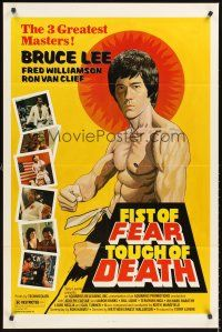 4g311 FIST OF FEAR TOUCH OF DEATH 1sh '80 artwork of Bruce Lee, + Fred Williamson, Ron Van Clief!