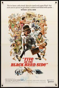4g313 FIVE ON THE BLACK HAND SIDE 1sh '73 great Jack Davis artwork of entire cast!