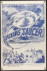 4g321 FLYING SAUCER military 1sh R53 cool sci-fi artwork of UFOs from space & terrified people!