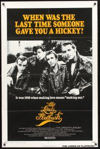4g574 LORDS OF FLATBUSH 1sh R77 cool portrait of Fonzie, Rocky, & Perry as greasers in leather!