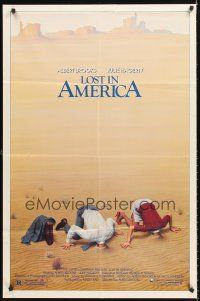 4g576 LOST IN AMERICA 1sh '85 great Lettick art of Albert Brooks & Julie Hagerty w/heads in sand!
