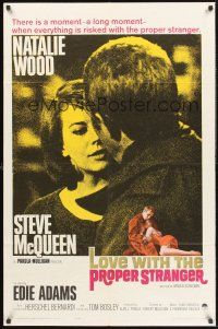 4g582 LOVE WITH THE PROPER STRANGER 1sh '64 romantic close up of Natalie Wood & Steve McQueen!