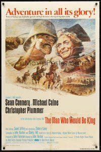 4g596 MAN WHO WOULD BE KING 1sh '75 art of Sean Connery & Michael Caine by Tom Jung!
