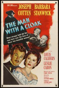 4g597 MAN WITH A CLOAK 1sh '51 what strange hold did Joseph Cotten have over Barbara Stanwyck!